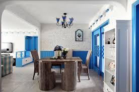 Blue Mediterranean Dining Room Design