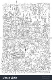 Fairy Tale Castle Stylized Swan Bird Lake Medieval Stone Bridge Coloring Book Page For Adults