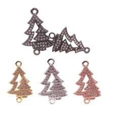 Copper Micro Pave Clear CZ Christmas Tree Connector For