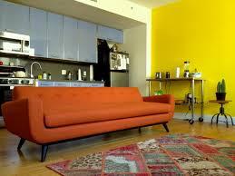 mid century modern orange chenille sofa the sofa company
