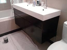 48 Inch Double Sink Vanity Ikea by Bathroom Stylish Double Sink Vanity With Black Wooden Base Open