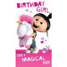 Birthday Girl Agnes Fluffy Unicorn Minions Card