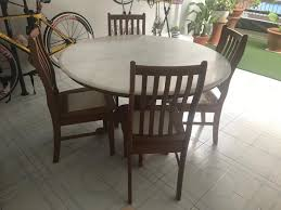 Marble Table + 4 Wooden/marble Chairs, Furniture, Tables ...