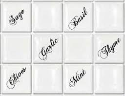 tile transfers stickers herbs for kitchen or utility to fit 4 and