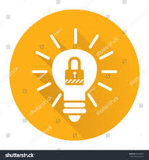 yellow circle light bulb key lock stock illustration 282209009