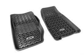 rugged ridge dmc 12920 25 floor liners front black jeep logo
