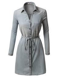 womens chambray button down long sleeve shirt dress with belt
