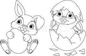 Baby Easter Bunny With Black White Color Coloring Pages