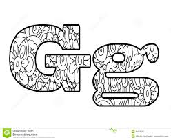 Anti Coloring Book Alphabet The Letter G Vector Illustration