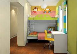 cartoon bedroom with desk and loft beds interior design