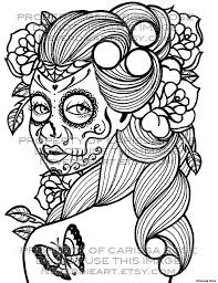 Sugar Skull Coloring Colouring Pages Tattoo