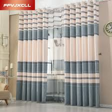 Modern Curtains For Living Room Pictures by Modern Cotton Linen Blue Purple Striped Blackout Curtains For