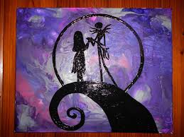 Jack Sally From Nightmare Before Christmas Melted Crayon Painting 4500 Via Etsy