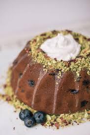 Blueberry Pistachio Bundt Cake With Cardamom Vanilla Bean Whipped