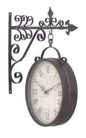 Wayfair Decorative Wall Clocks by Amazon Com Deco 79 35414 Metal Outdoor Double Clock 14 By 17