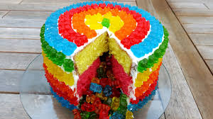 Cakes Decorated With Candy by Rainbow Gummy Bear Piñata Cake Youtube
