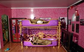luxurious pink bedroom style with feminine monster high bunk bed