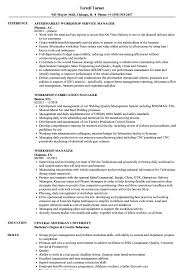 Download Workshop Manager Resume Sample As Image File