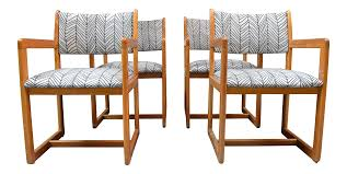 1980s Vintage Upholstered Dining Room Chairs- Set Of 4