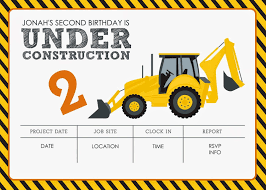Fun Construction Truck Birthday Party Invitation Big Great ... Birthday Cstruction Themed Party With Free Printables  Noted Trucks Pictures Amazon Com 12340 Watsons Cstruction Truck Birthday Party Holy City Chic Truck Dessert Cake Plates Napkins And Cups Home Ideas Invitations Monster Fire Envelopes First Themed Invites Items Similar To Augustines 2nd M Loves Stay At Homeista Boys Name Age Poster Crane