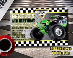 Monster Jam Invitation,MOnster Jam Birthday,Monster Jam Birthday ... Free Printable Birthday Cards With Monster Trucks Awesome Blaze And The Machines Invitations Templates List Truck Party 50 Unique Ideas Cookie Free Pvc Invites Vip Invitation Novel Concept Designs Mud Thank You Card Truck Party Printable