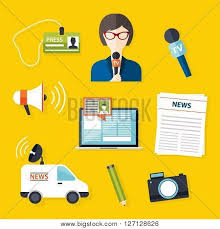 Journalism Press News Reporter Set Of Vector Icons In Flat Design Style Spokesperson Interview