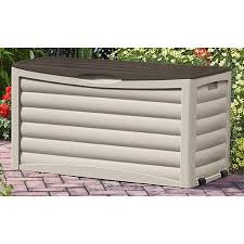 Suncast Garden Shed Taupe by Suncast 83 Gallon Light Taupe And Mocha Resin Deck Box Db8300