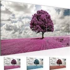 details zu wandbild modern wohnzimmer landschaft baum lila grau schlafzimmer bilder