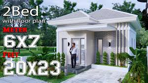 104 Housedesign Small House Design 6x7m 20x23f Hip Roof Full Plans House Design 3d