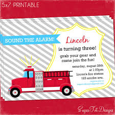 Firetruck Party Invitation, Fire Truck Birthday Invitation ...