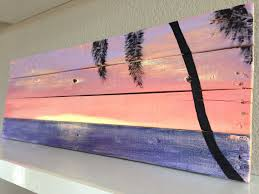 Sunset Palm Tree Beach Pallet Art By PelicanBayStudio On Etsy