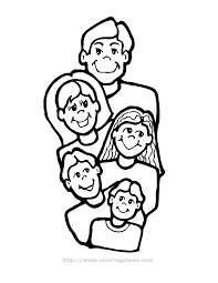 Family Of Five Printable Coloring In Pages For Kids