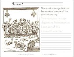 Renaissance Banquet Coloring Page With Handwriting Practice