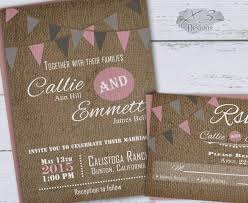 Rustic Wedding Invitation Spring Barn Pink Gray Bunting Flags Country Invite Printable Backyard DIY