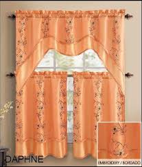 Nice Orange Kitchen Curtains Decorating with Most Beautiful