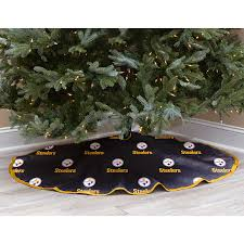 Black Pittsburgh Steelers Micro Plush Christmas Tree Skirt