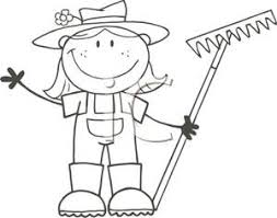 A Black and White Cartoon of a Girl Holding a Garden Rake Royalty Free Clipart Picture