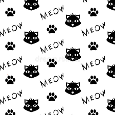 cat paw prints vector pattern with cat paw prints and meow word printable