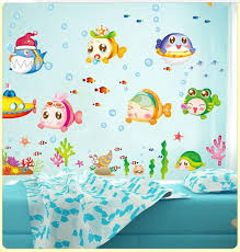 Cartoon Chinese Blue Ocean Fish Wall Stickers Home Decor 3d Sticker For Kids Rooms Child Room Diy Heart Art Decals
