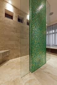 akdo taupe glass tile bathroom contemporary with green tile accent