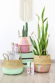 diy sommerdeko für pflanzen aus seegraskörben basteln