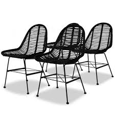 Amazon.com - VidaXL 4X Dining Chair Natural Rattan Wicker Black ...