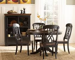 Dining Room Round Black Wooden Table With One Leg Combined Chairs