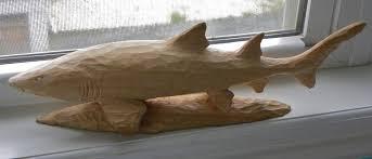 3 Whittled Standing Shark