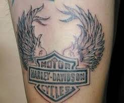 Harley Davidson Wings Tattoo On Biceps