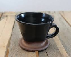 Coffee Brewing Cone In Satin Black Glaze Pour Over Stoneware Ceramic Handmade Wheel Thrown
