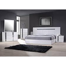 Amazon J&M Furniture Porto Light Grey Lacquer With Wenge