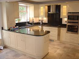 Painted Ivory Solid Wood Kitchen Cabinets L Shaped Island