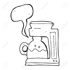 Freehand Drawn Speech Bubble Cartoon Coffee Filter Machine Stock Vector