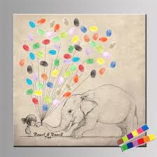 Elephant And Little Girl Fingerprint Balloon Attendance Canvas Painting Custom DIY Guestbook Signature Art Drawing Home